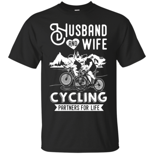 image 221 490x490px Husband and Wife Cycling Partners For Life T Shirt