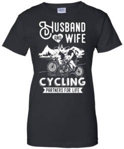 image 229 247x296px Husband and Wife Cycling Partners For Life T Shirt