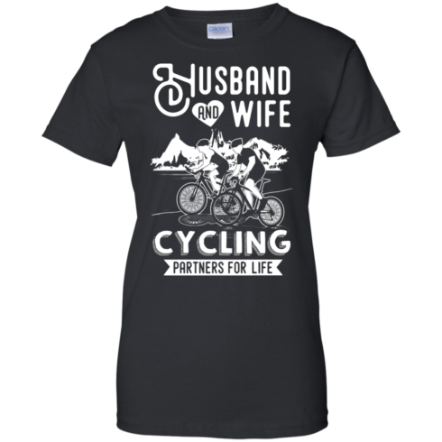 image 229 490x490px Husband and Wife Cycling Partners For Life T Shirt