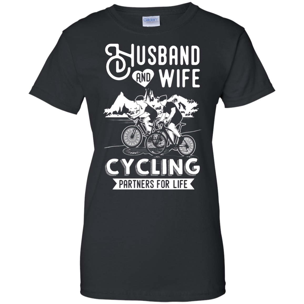image 229px Husband and Wife Cycling Partners For Life T Shirt