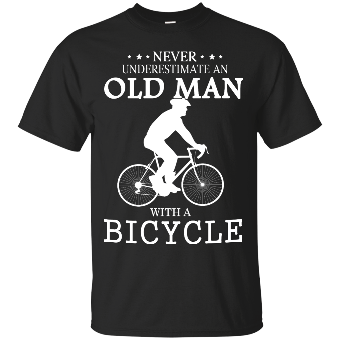 image 259px Cycling T shirt: Never underestimate an old man with a bicycle