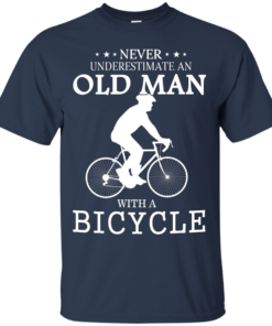 image 261 247x296px Cycling T shirt: Never underestimate an old man with a bicycle