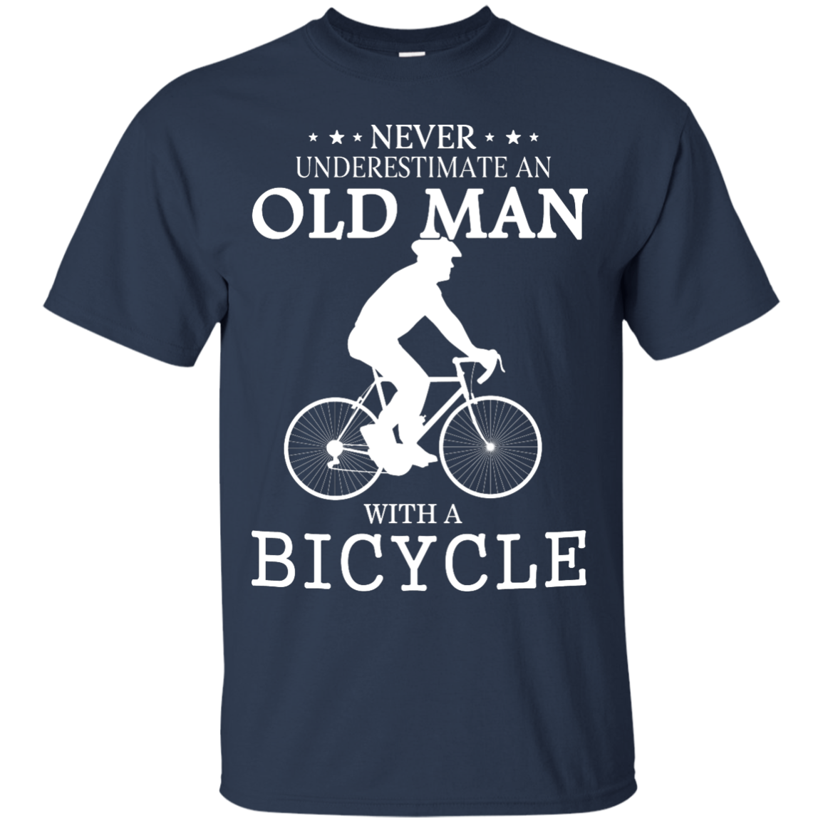 image 261px Cycling T shirt: Never underestimate an old man with a bicycle