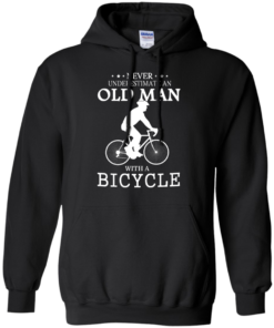 image 263 247x296px Cycling T shirt: Never underestimate an old man with a bicycle