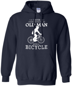image 264 247x296px Cycling T shirt: Never underestimate an old man with a bicycle