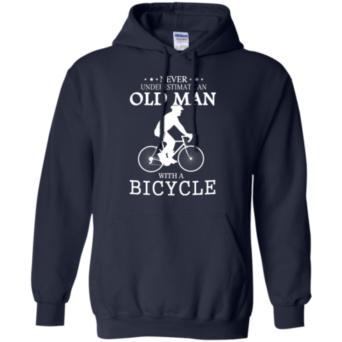 image 264 490x490px Cycling T shirt: Never underestimate an old man with a bicycle
