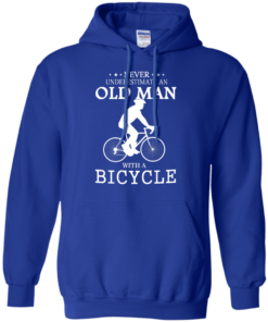 image 265 247x296px Cycling T shirt: Never underestimate an old man with a bicycle
