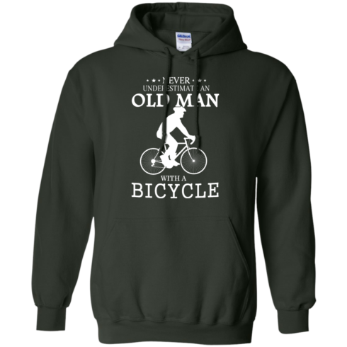 image 266 490x490px Cycling T shirt: Never underestimate an old man with a bicycle
