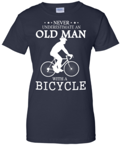 image 268 247x296px Cycling T shirt: Never underestimate an old man with a bicycle