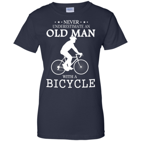 image 268 490x490px Cycling T shirt: Never underestimate an old man with a bicycle