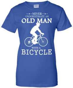 image 270 247x296px Cycling T shirt: Never underestimate an old man with a bicycle
