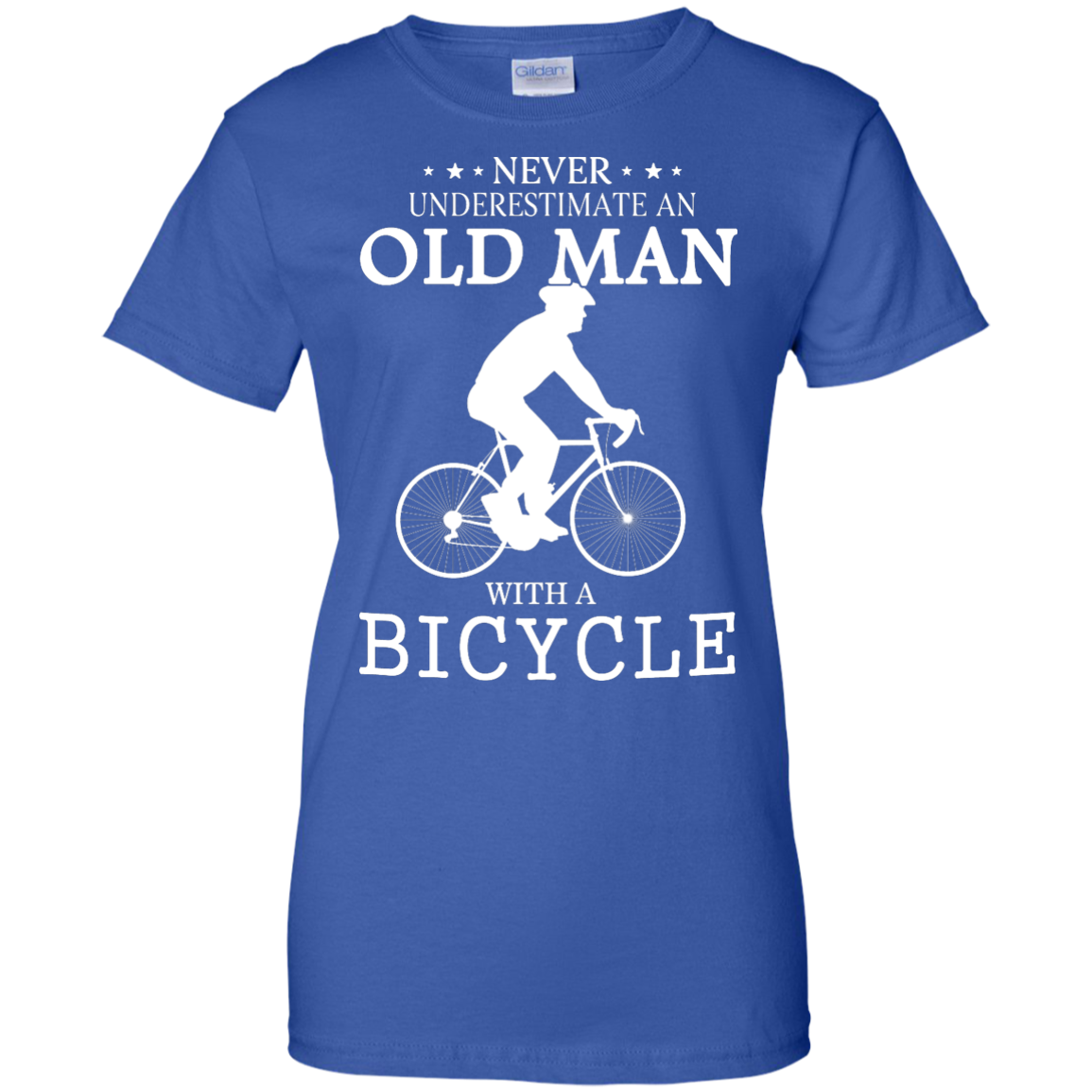 image 270px Cycling T shirt: Never underestimate an old man with a bicycle