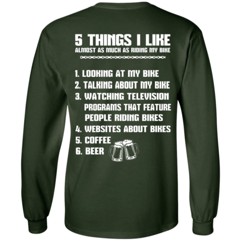 image 331 490x490px 5 Things I Like Almost As Much As Riding My Bike T Shirt