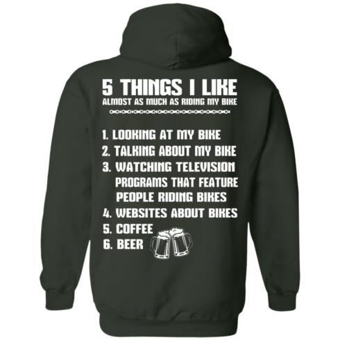 image 334 490x490px 5 Things I Like Almost As Much As Riding My Bike T Shirt
