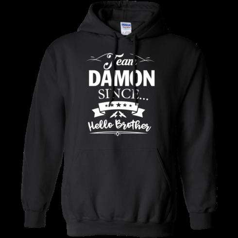 image 668 490x490px Team Damon Since Hello Brother. Damon Salvatore T Shirt
