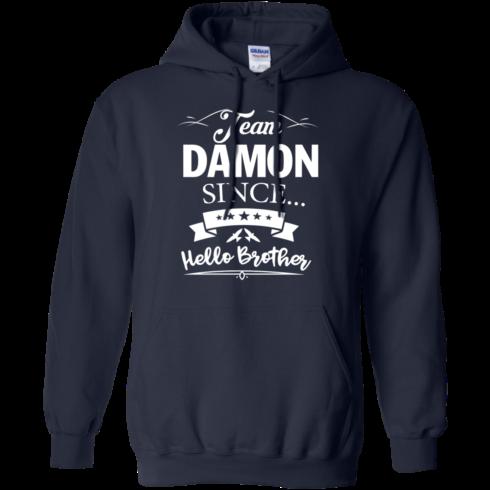 image 669 490x490px Team Damon Since Hello Brother. Damon Salvatore T Shirt