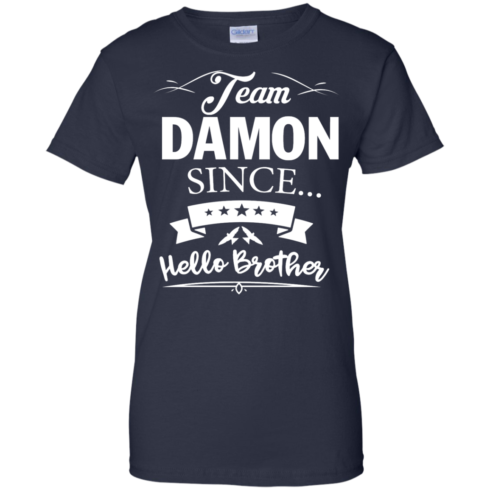 image 672 490x490px Team Damon Since Hello Brother. Damon Salvatore T Shirt