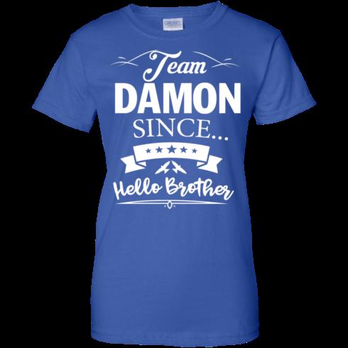 image 673 490x490px Team Damon Since Hello Brother. Damon Salvatore T Shirt