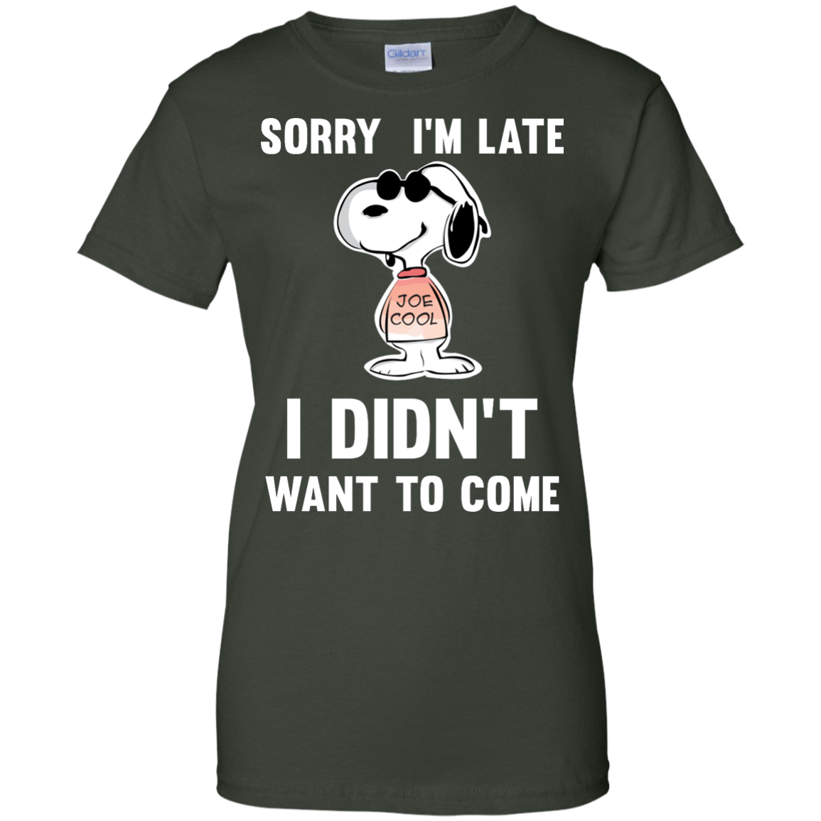 image 964px Peanuts Snoopy: Sorry I'm Late I Didn't Want To Come T Shirt
