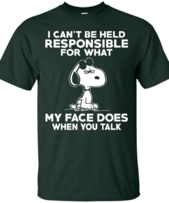 image 290 247x296px Peanuts Snoopy: I Can't Be Held Responsible For What My Face Does T Shirt