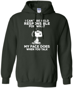 image 295 247x296px Peanuts Snoopy: I Can't Be Held Responsible For What My Face Does T Shirt