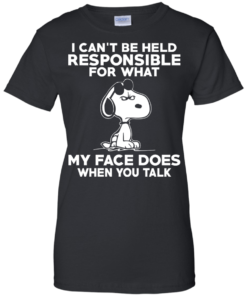 image 296 247x296px Peanuts Snoopy: I Can't Be Held Responsible For What My Face Does T Shirt