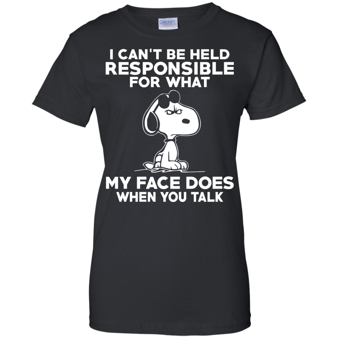 image 296px Peanuts Snoopy: I Can't Be Held Responsible For What My Face Does T Shirt