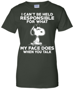 image 297 247x296px Peanuts Snoopy: I Can't Be Held Responsible For What My Face Does T Shirt