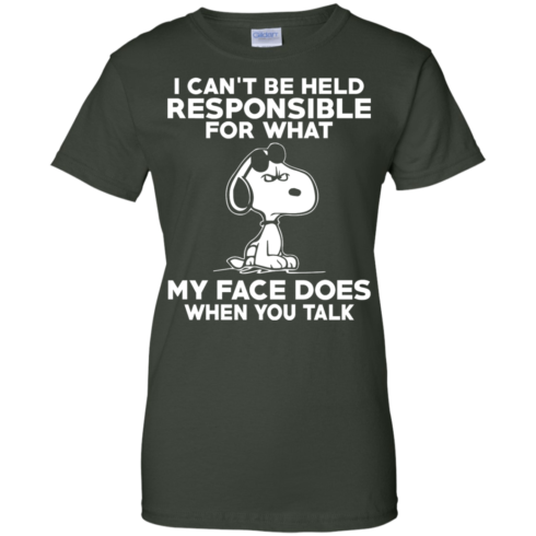 image 297 490x490px Peanuts Snoopy: I Can't Be Held Responsible For What My Face Does T Shirt