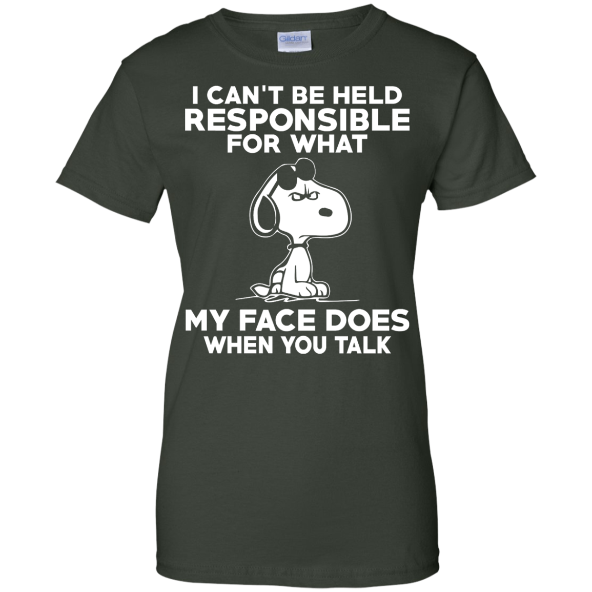 image 297px Peanuts Snoopy: I Can't Be Held Responsible For What My Face Does T Shirt