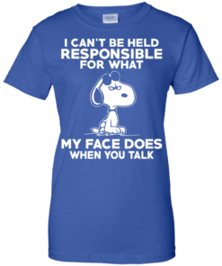 image 298 247x296px Peanuts Snoopy: I Can't Be Held Responsible For What My Face Does T Shirt