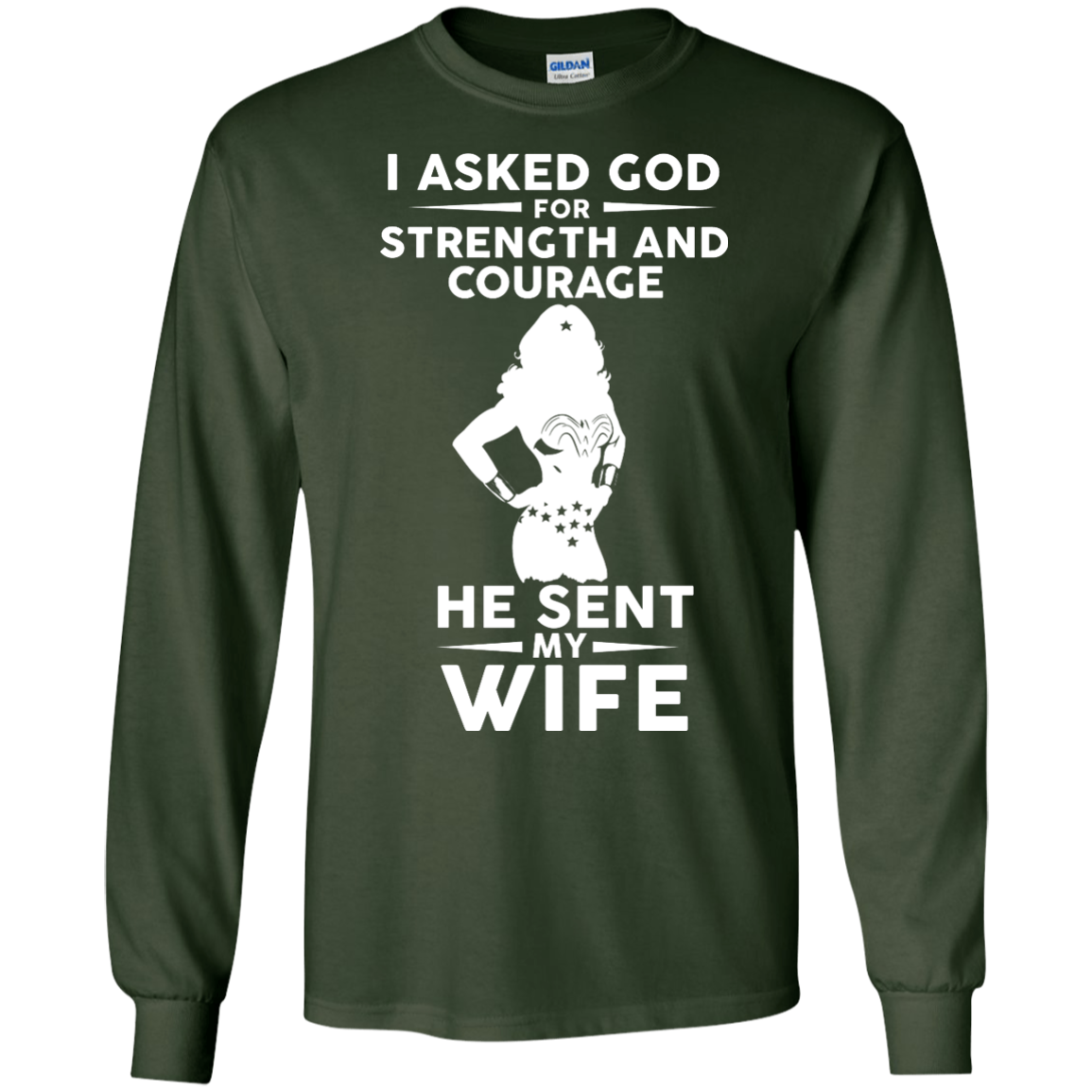 image 136px Wonder Woman: I Asked God For Strength And Courage He Sent My Wife T Shirts, Hoodies
