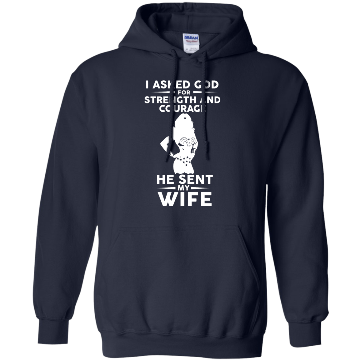 image 139px Wonder Woman: I Asked God For Strength And Courage He Sent My Wife T Shirts, Hoodies