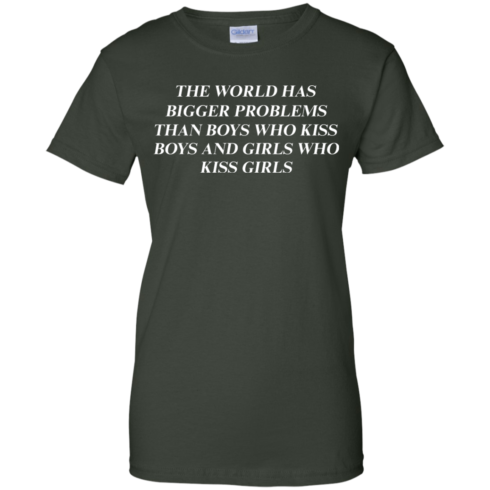 image 489 490x490px The world has bigger problems than boys who kiss boys and girls who kiss girls t shirts