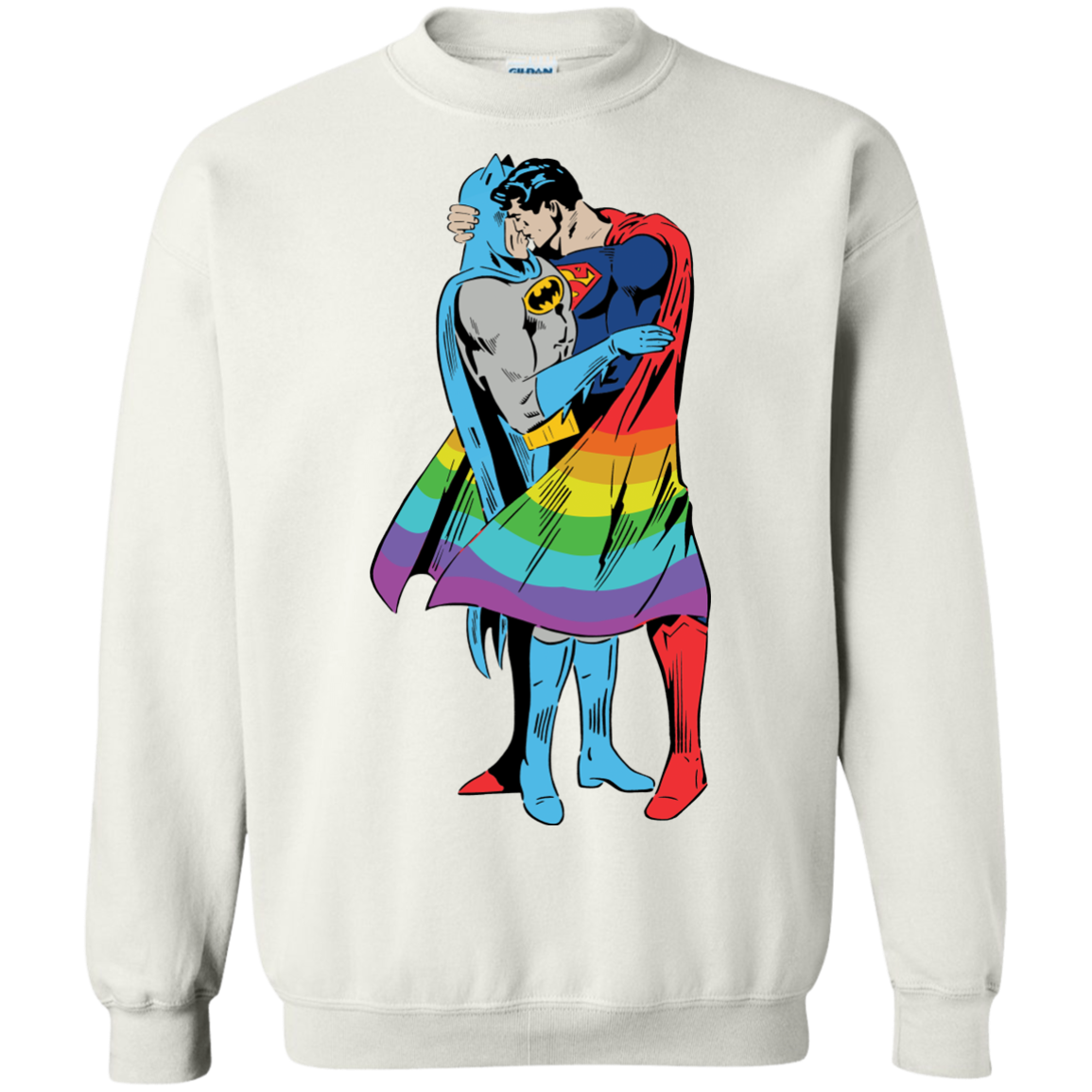 image 704px Superman Kiss Batman Love Is Love LGBT T Shirts, Hoodies