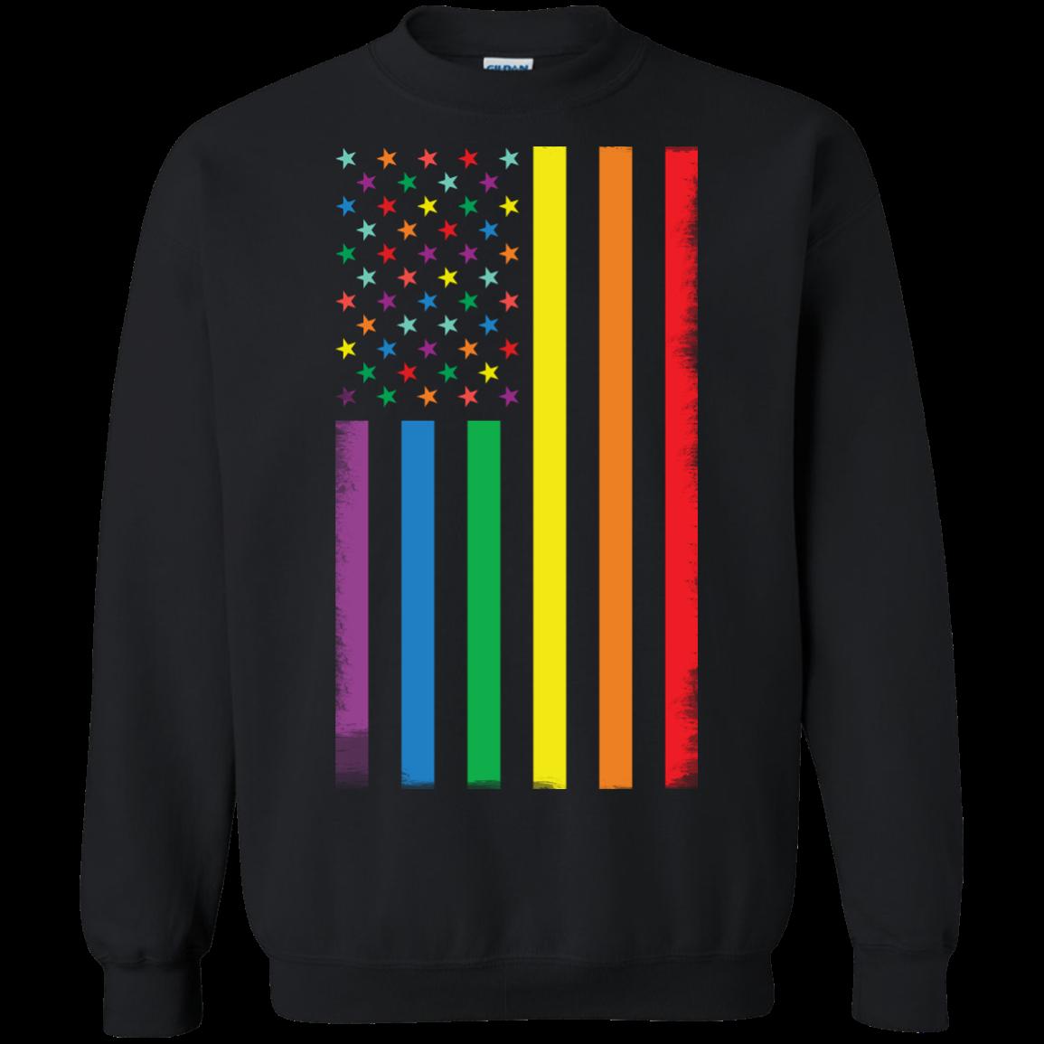 image 924px Rainbow American Flag LGBT Gay Flag T Shirts, Hoodies