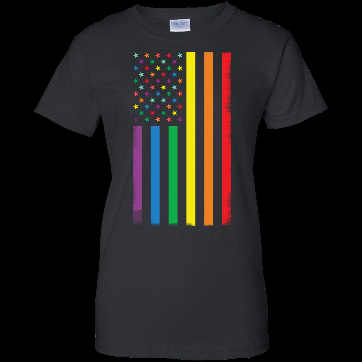 image 926px Rainbow American Flag LGBT Gay Flag T Shirts, Hoodies