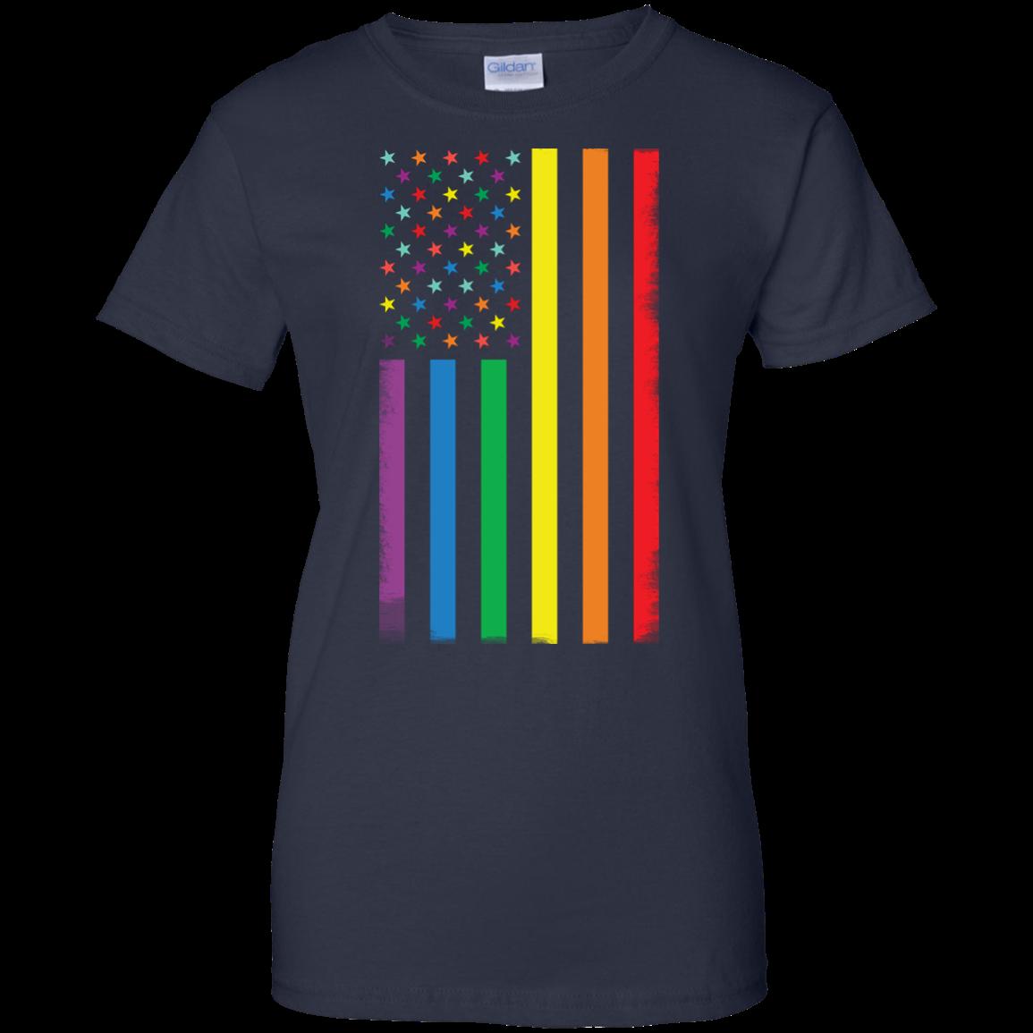 image 927px Rainbow American Flag LGBT Gay Flag T Shirts, Hoodies