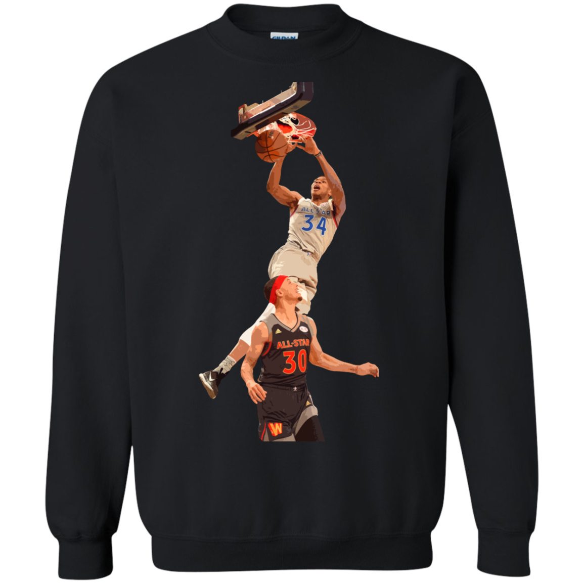 image 563px Giannis dunk on Steph Curry in the All Star Game T Shirts, Hoodies, Sweaters