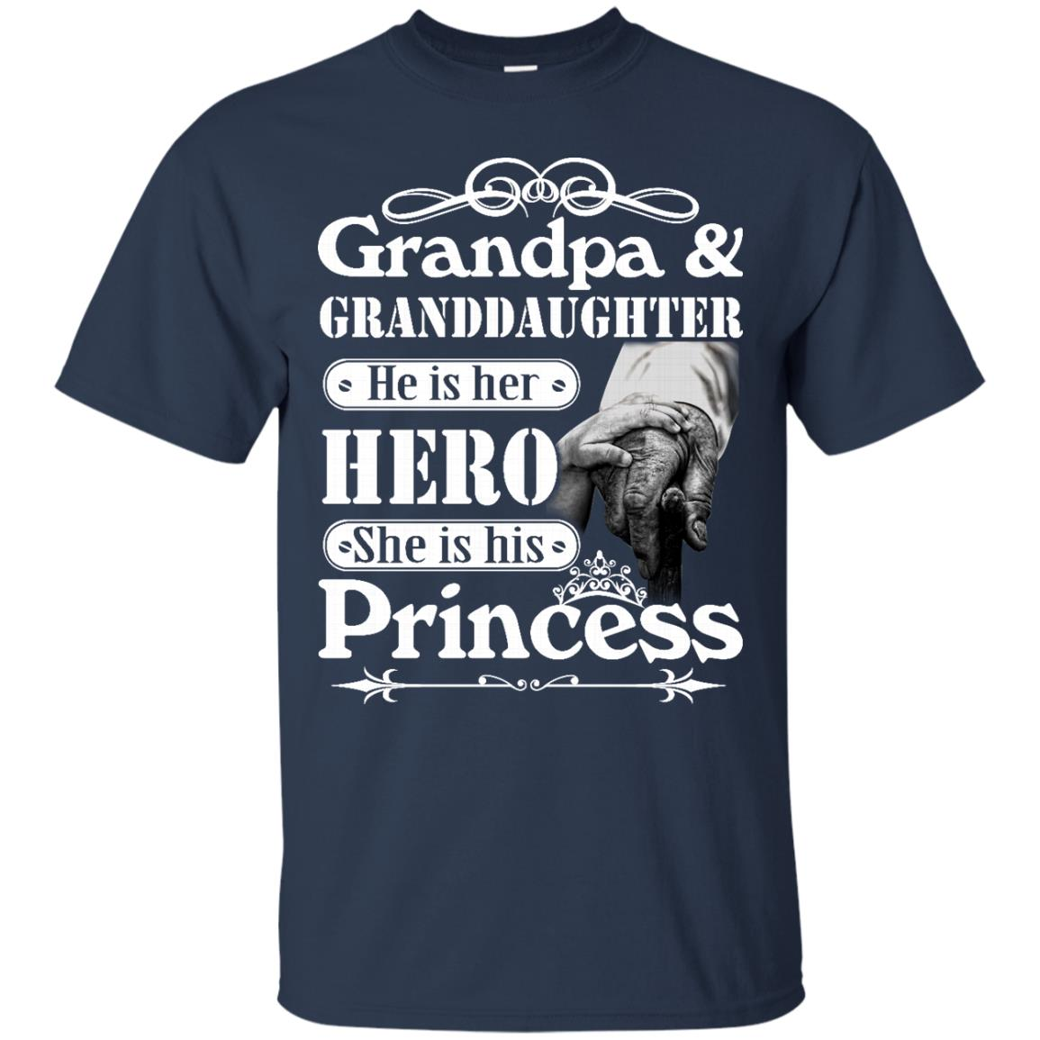 image 162px Grandpa and Granddaughter He Is Her Hero She Is His Princess T Shirts, Hoodies, Tank