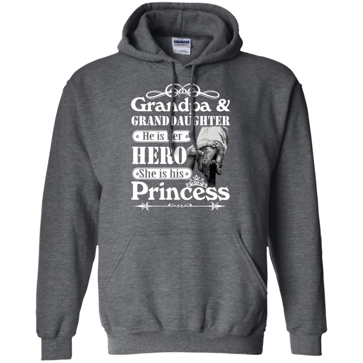 image 167px Grandpa and Granddaughter He Is Her Hero She Is His Princess T Shirts, Hoodies, Tank
