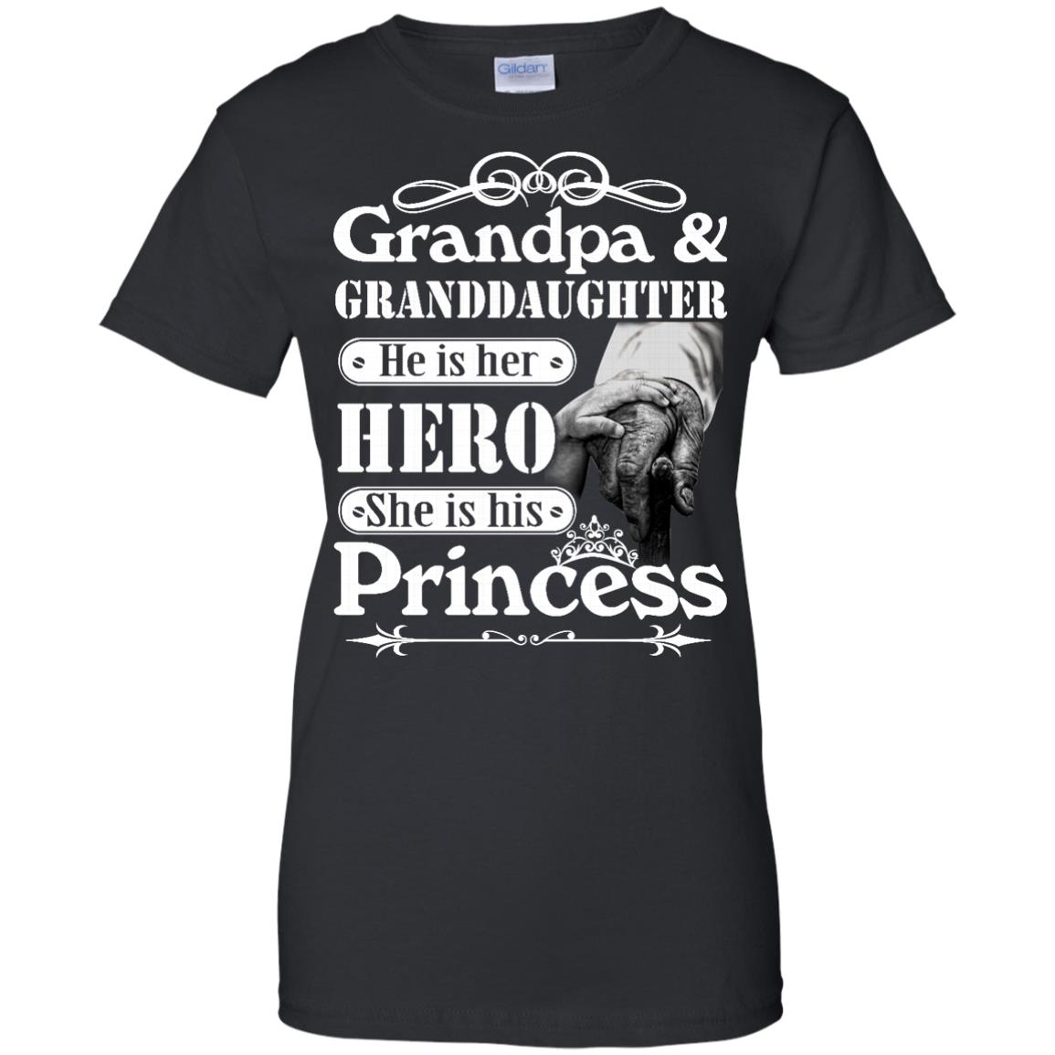 image 168px Grandpa and Granddaughter He Is Her Hero She Is His Princess T Shirts, Hoodies, Tank