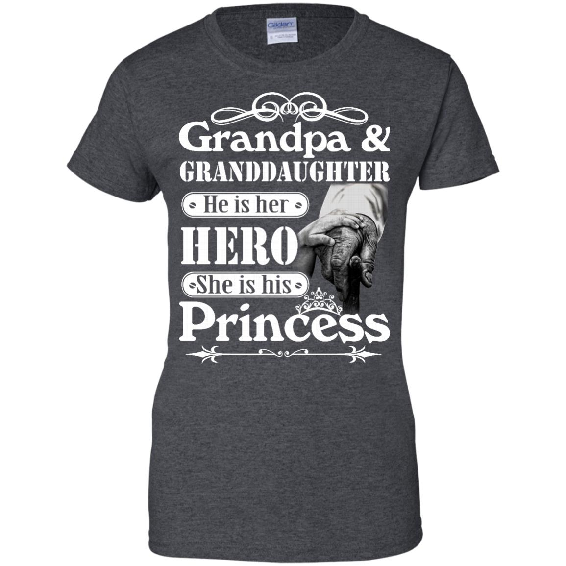 image 169px Grandpa and Granddaughter He Is Her Hero She Is His Princess T Shirts, Hoodies, Tank