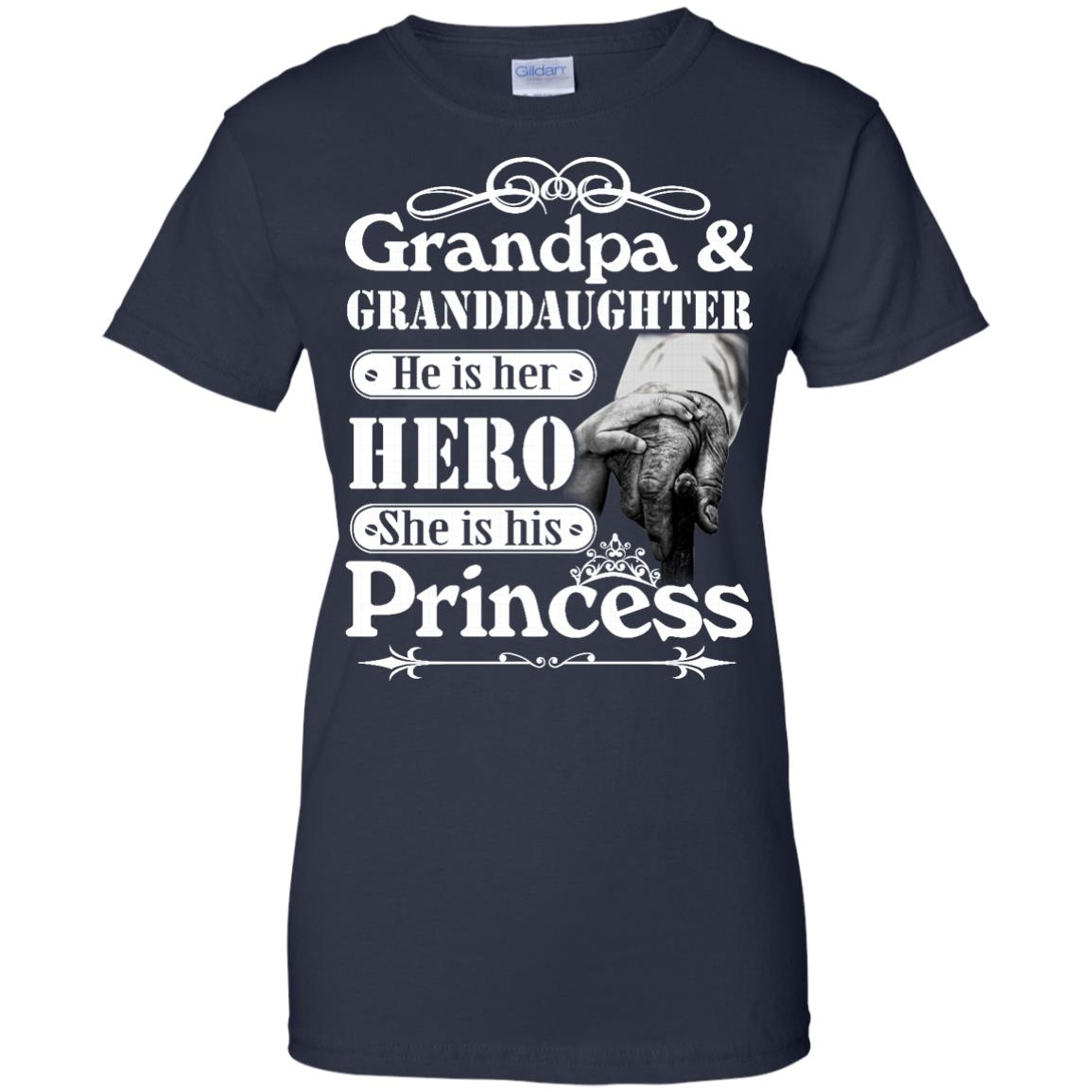 image 170px Grandpa and Granddaughter He Is Her Hero She Is His Princess T Shirts, Hoodies, Tank
