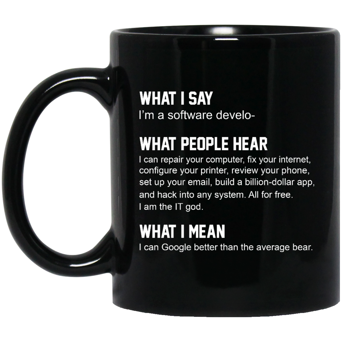 image 332px What People Hear When I Say I'm A Software Developer Coffee Mug