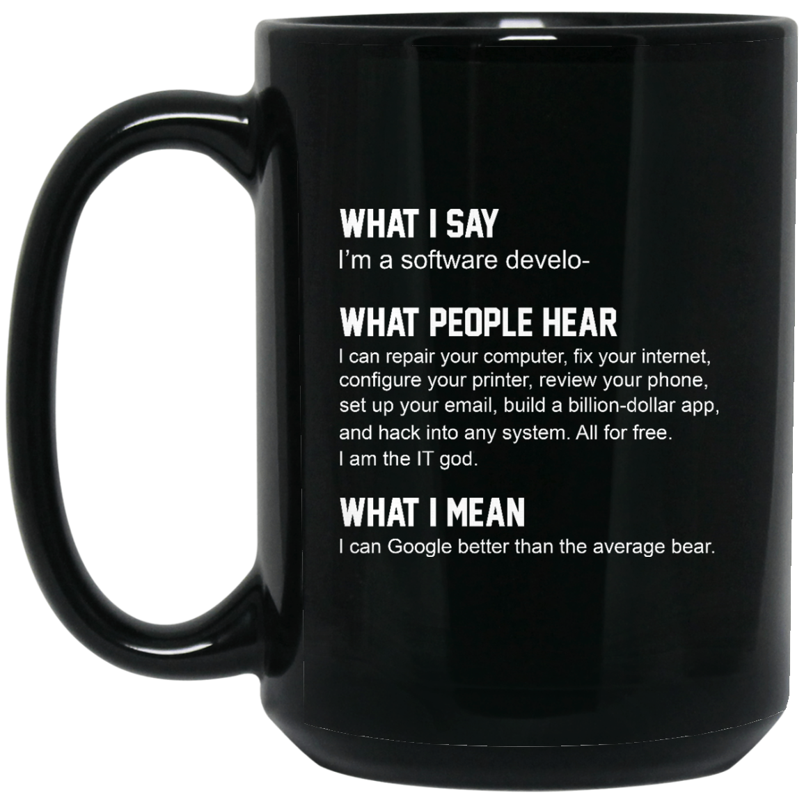 image 333px What People Hear When I Say I'm A Software Developer Coffee Mug