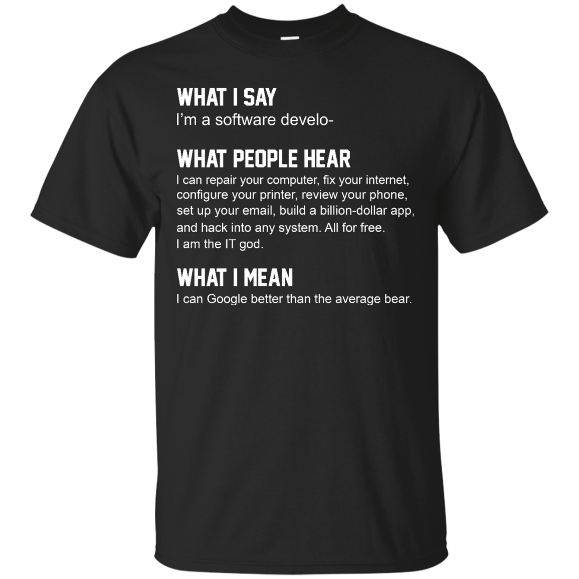 image 334px What People Hear When I Say I'm A Software Developer T Shirts, Hoodies, Tank