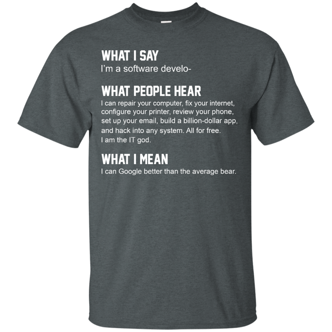 image 335px What People Hear When I Say I'm A Software Developer T Shirts, Hoodies, Tank