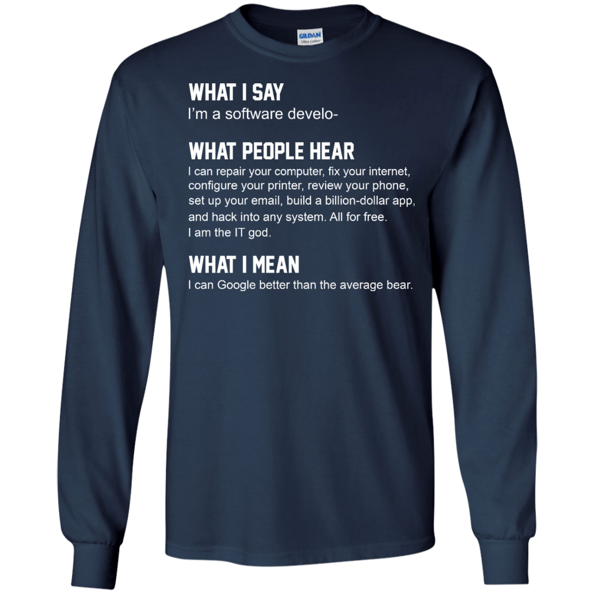 image 339px What People Hear When I Say I'm A Software Developer T Shirts, Hoodies, Tank