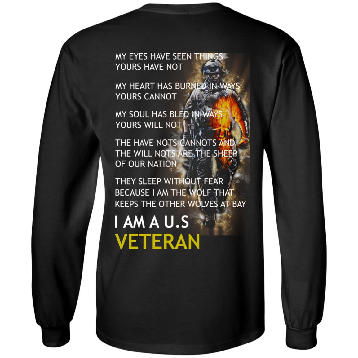 image 3px I am a US Veteran my eyes have seen things yours have not back side t shirt, hoodies